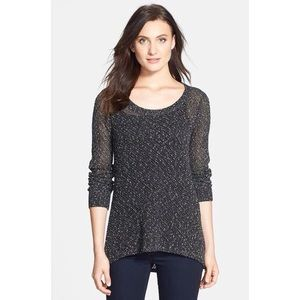 Eileen Fisher Ballet Neck Speckled Tunic Blouse